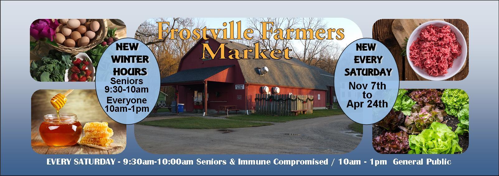 Frostville Farmers Market banner plus hours